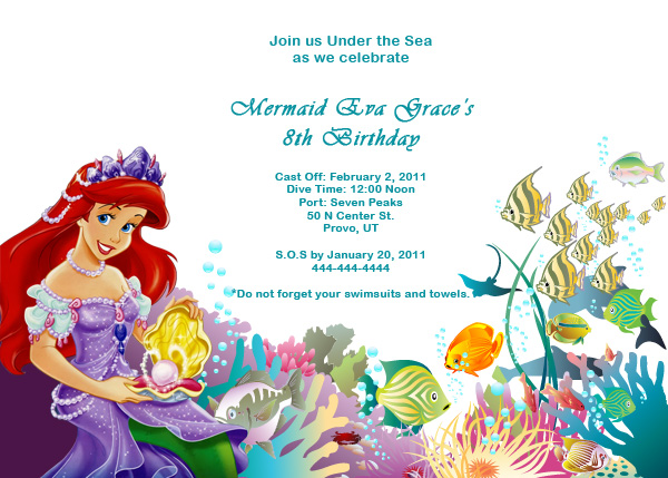 Ariel Disney Little Mermaid Free Birthday Invitation Wedding