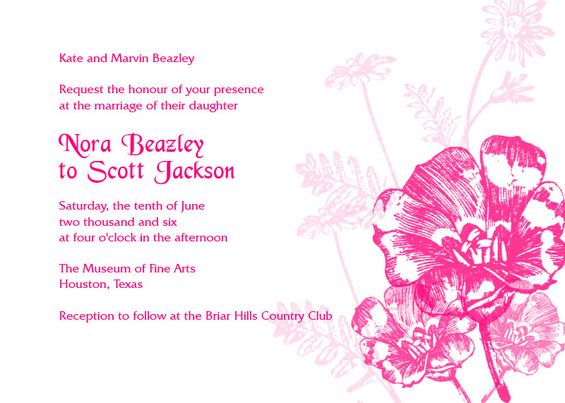 Image preview of pink flowers printable invite template