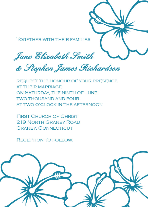 Image preview of hibiscus flowers printable invitation
