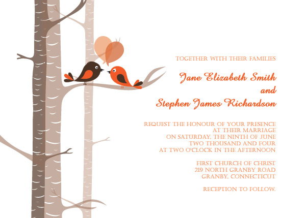 Landscape version of lovebirds wedding invite template