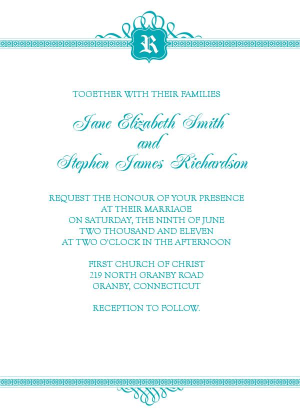 Wedding Invitation Template with Simple Monogram Design