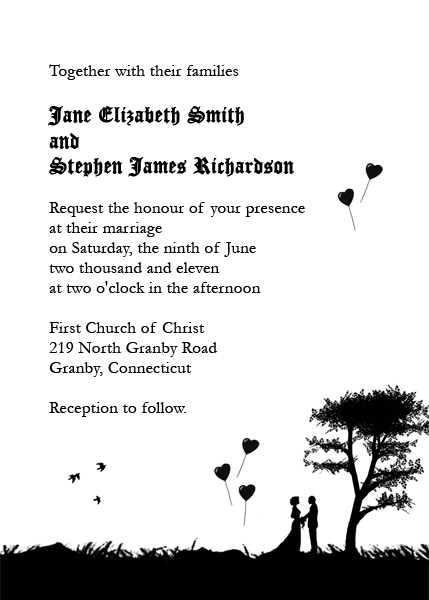 Romantic Silhouette Free Wedding Invitation