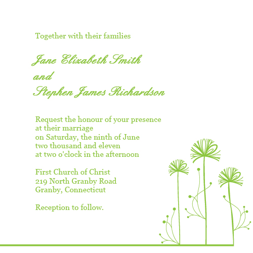 Printable Wedding Invitation for spring weddings