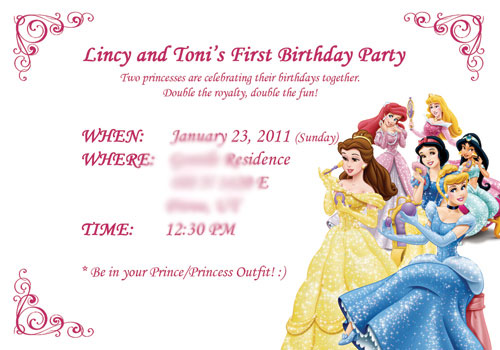Disney princess birthday information card
