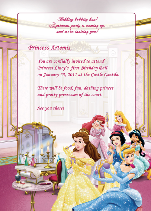 Disney Princesses Birthday Party Invitation Free Wedding - Princess birthday invitation templates free