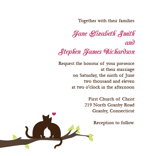 Free wedding invitation template with cats on branch.