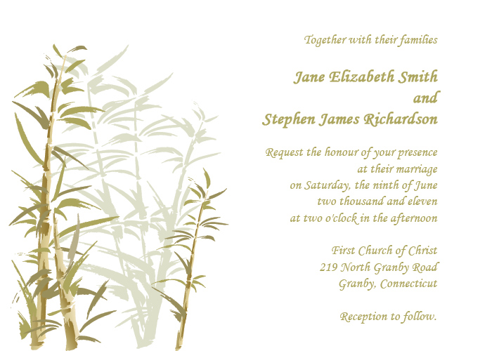 Watercolor Series Free Wedding Invitation Template Bamboo