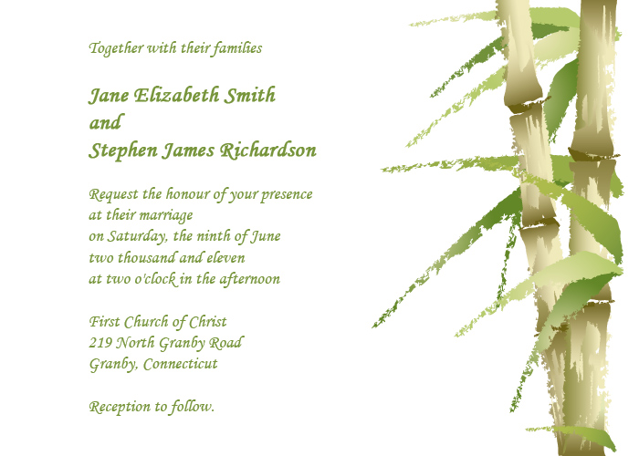 Bamboo wedding invitation card for Asian-inspired weddings.