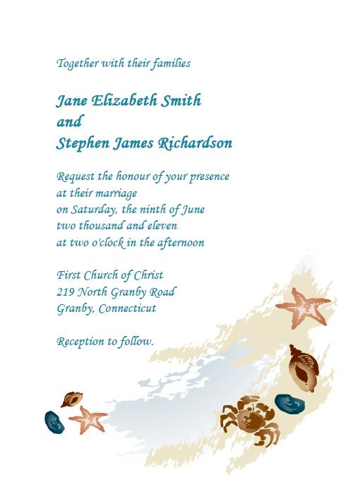 Beach wedding invitation with watercolor beach scene design