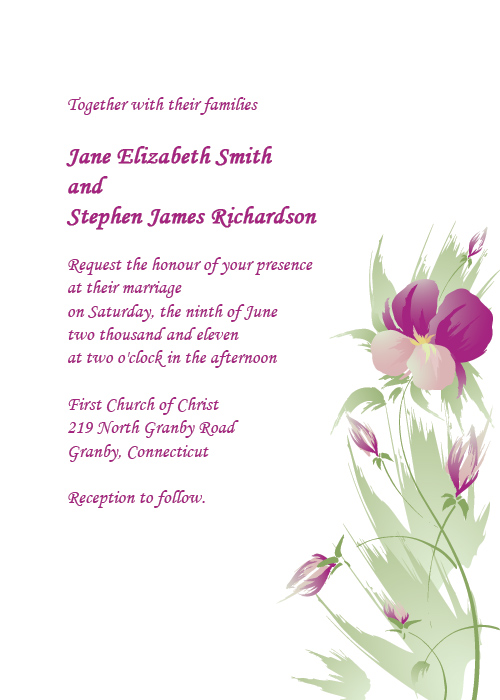 Watercolor Series Free Wedding Invitation Template Orchids