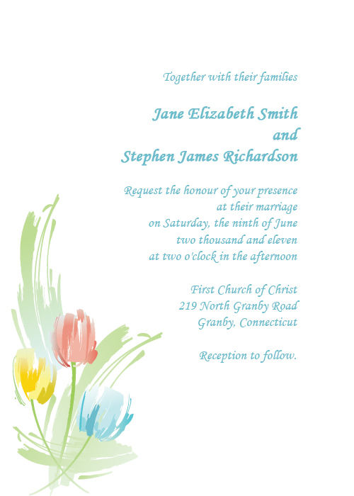 Watercolor Tulips free wedding invitation
