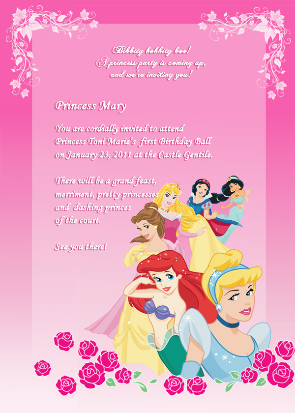 Disney Princess Birthday Invitation 2 Wedding Invitation