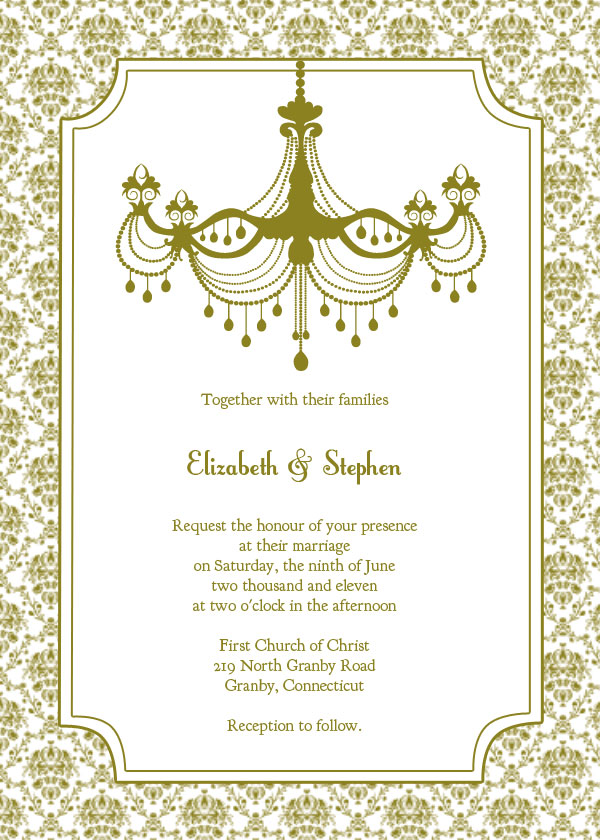 Vintage Chandelier Wedding Invitation Template – Free