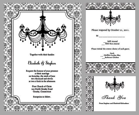 Black And White Chandelier Wedding Invitation