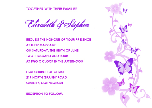 Lavender and Purple Wedding Invitation Lavender and Purple Butterflies