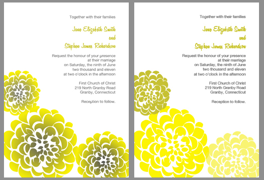 Chrysanthemum Wedding Invitation – Yellow and Gray