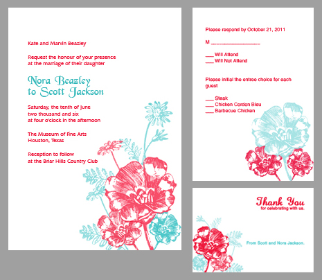 Printable invitation kit in red and turquoise floral design.