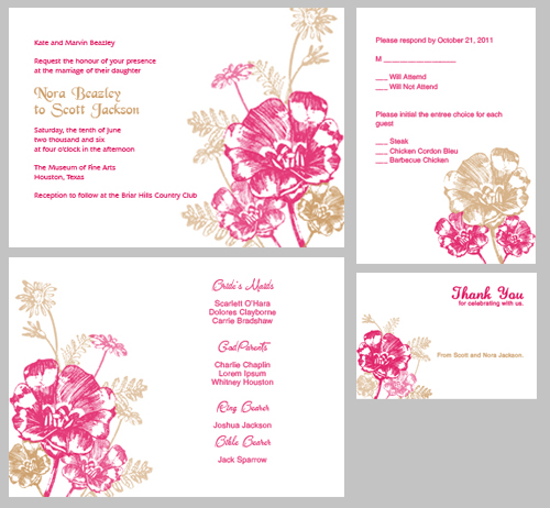 image regarding Printable Invitations Kit named Guava and Latte Bouquets Invitation Package ← Wedding day Invitation