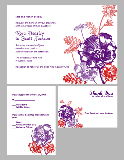 plum and red flowers wedding invitation kit