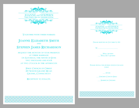 teal logo wedding invitation kit