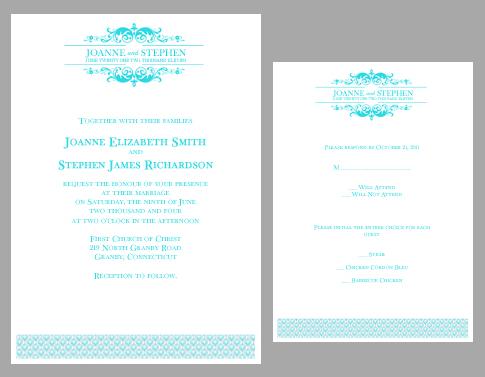 Teal Wedding Invitations Kits