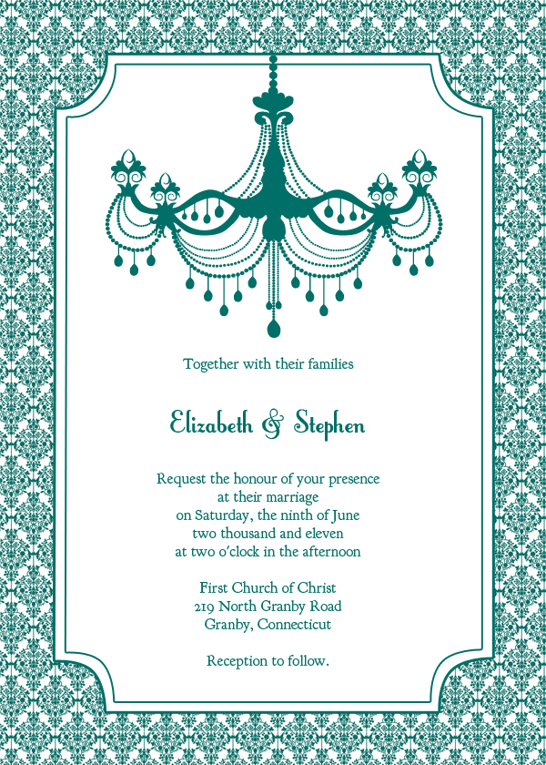 Vintage Wedding Invitation  Teal Chandelier  Wedding Invitation