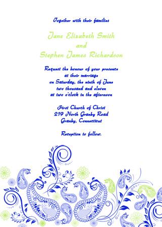 paisley wedding invitation blue and green wedding invitation