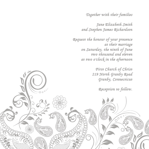 vintage paisley wedding invitation