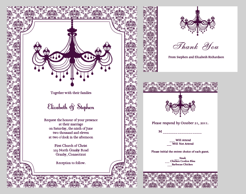 Chandelier Wedding Invitations: Vintage Wedding Invitation Kit