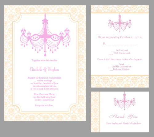 Vintage wedding invitation template with chandelier design.