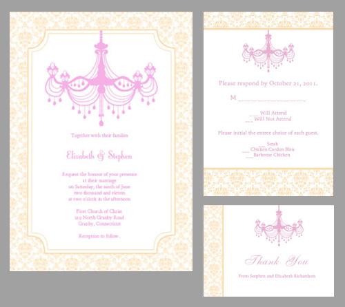 Vintage wedding invitation template with chandelier design.