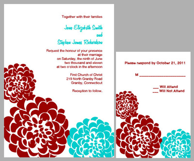 chrysanthemum free wedding invitation Free Wedding Invitation with Red and