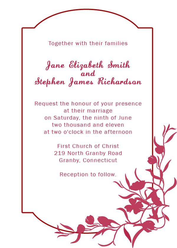 Burgundy Floral Border Wedding Invitation Wedding Invitation