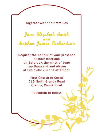 Elegant Wedding Invitation With Floral Border Wedding Invitation