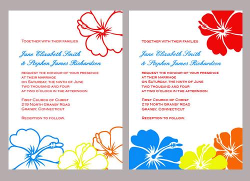 Two Hibiscus Wedding Invitation Templates