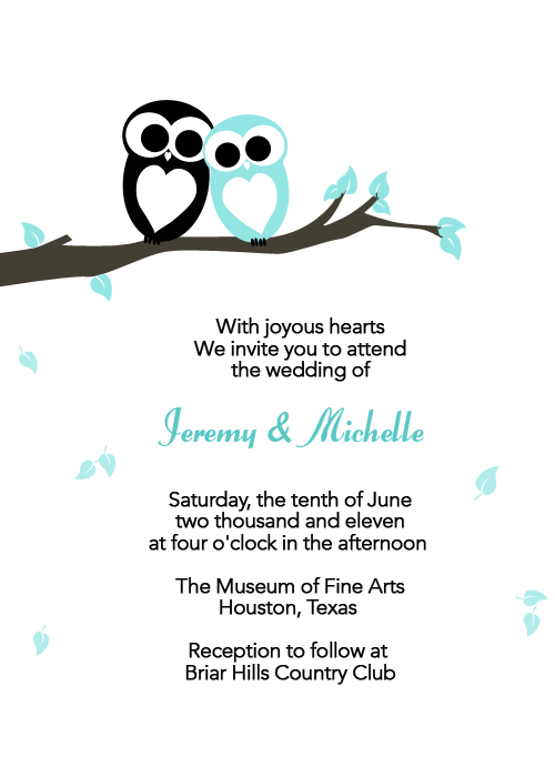Black and Blue Love Owls Wedding Invitation