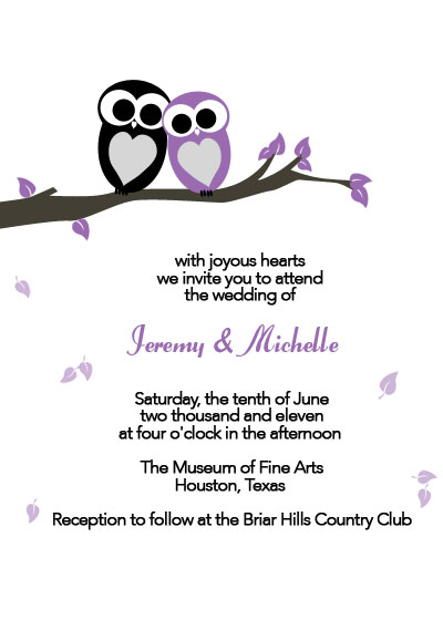 Wedding invitation template with purple and black owls design.