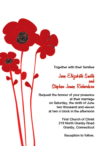 Red and Black poppies wedding invitation