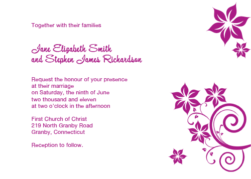 floral swirls wedding invitation