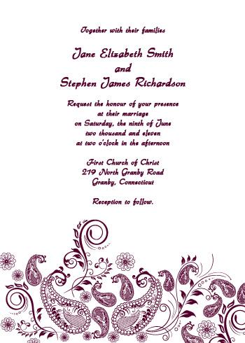 Violet paisley wedding invitation in 46 wedding invitation paisley vintage invitation in 4x6 maxwellsz
