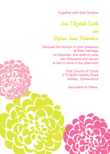 Pink and Gold Chrysanthemums Wedding Invitation