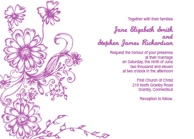 Garden Wedding Invitation template - hand-drawn flowers