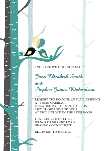 teal love birds wedding invitation ← wedding invitation templates, Wedding invitations