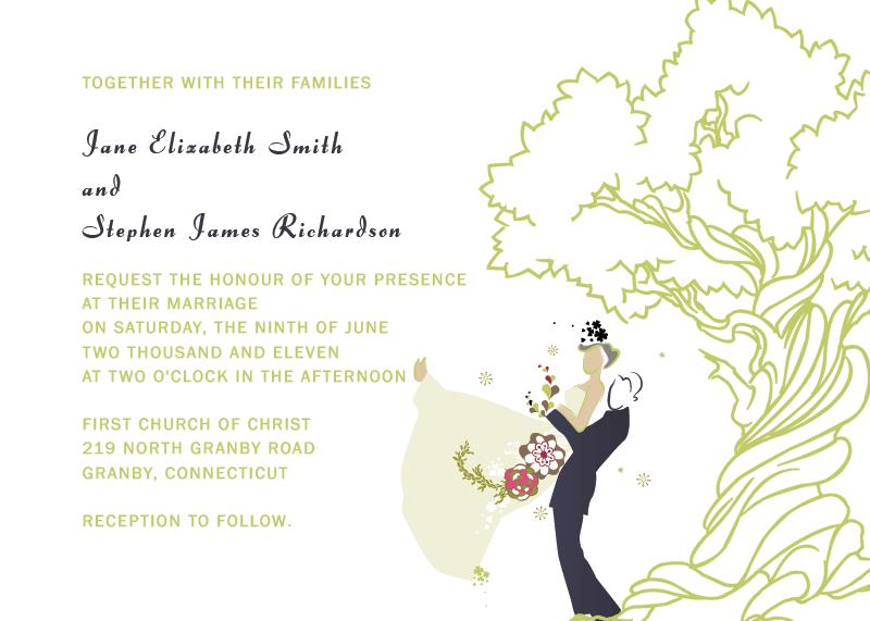 oak tree free wedding invitations