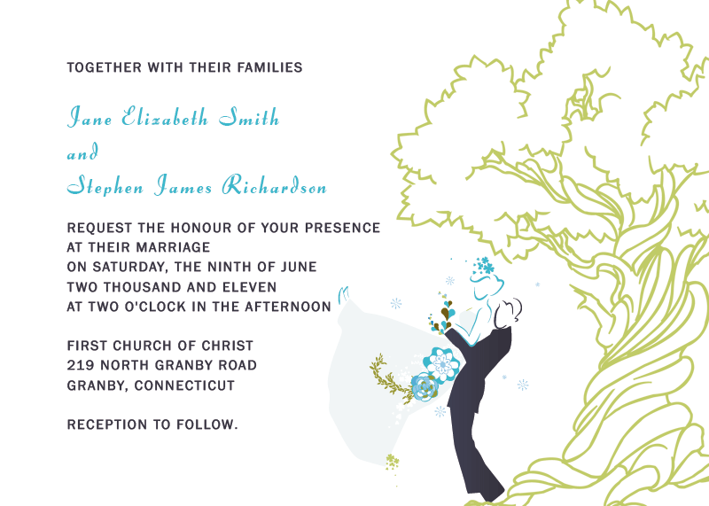 Oak tree printable wedding invitation