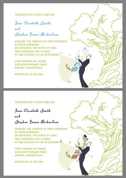 Oak Tree and Couple Custom Wedding Invitations ← Wedding ...