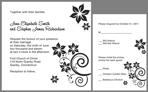 Square Fl Swirls Wedding Invitation Black