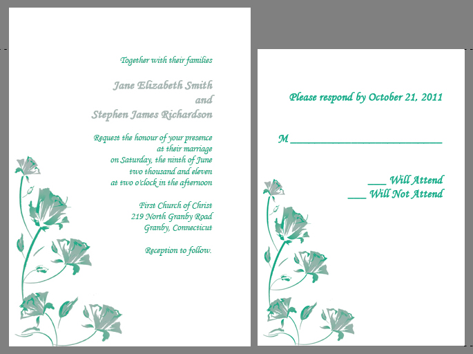 This watercolor roses in jade and silver wedding invitation and RSVP set is
