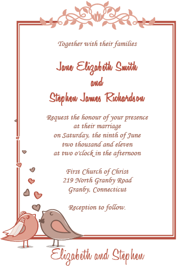 Birdie Couple Free Wedding Invitation ← Wedding Invitation ...