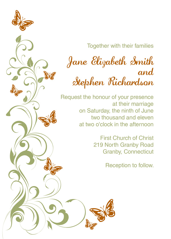 Butterflies Wedding Invitation Template Wedding Invitation – Butterfly Wedding Invite